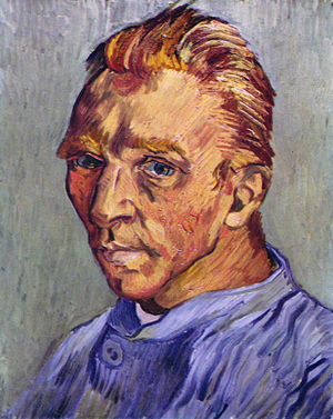 Vincent Van Gogh - Self-portrait without beard, end September 1889, oil on canvas, 40 × 31 cm, Private Collection. This was Van Gogh's last self-portrait. Given as a birthday gift to his mother.